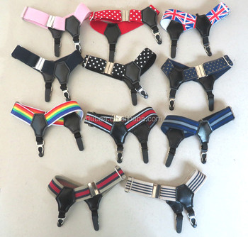 2pcs (One Pair) Sexy Rainbow/Stripe/Dot Double Clip Thick/Thin Dress Sock Garter Sock Suspender Fashion Costume Cosplay Tool