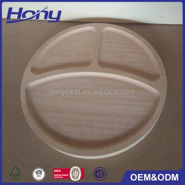 Eco-friendly Round Beech Catering Tray Wood Food Serving Stocked Tray with Compartments