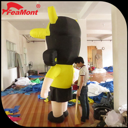 Yellow Silk Printing inflatable iron man,inflatable muscle man costume