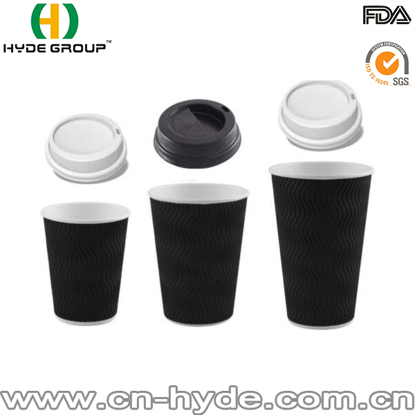 Corrugated paper cup,9oz hot coffee paper cup with lids,black coffee sleeve cup sleeve