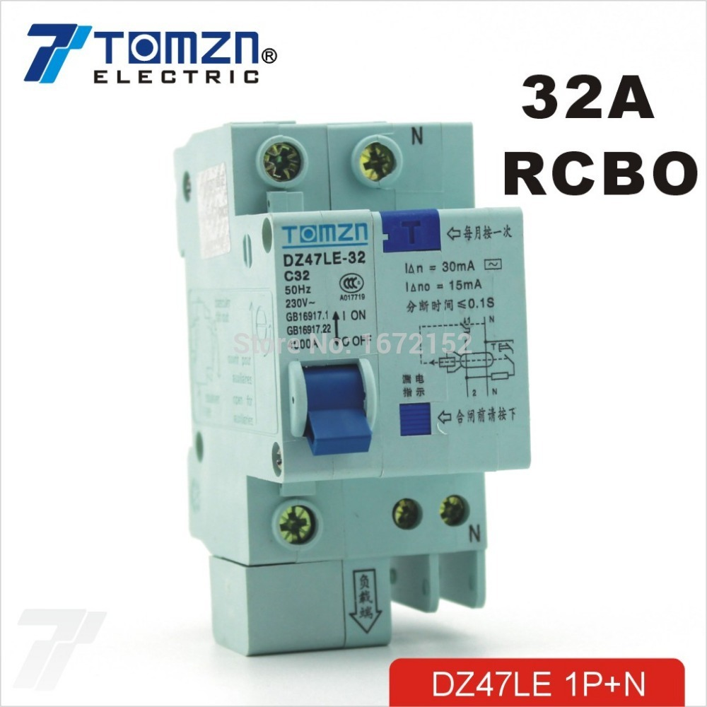 DZ47LE 1P+<strong>N</strong> 32A C type 230V~ 50HZ/60HZ Residual current Circuit breaker with over current and Leakage protection RCBO