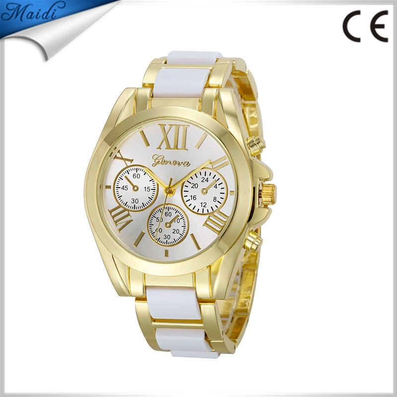 Ladies Dress Luxury Geneva Quartz Watches Unisex Rose Gold Roman Numeral Big Dial Stainless Steel Dress Wristwatch GW052