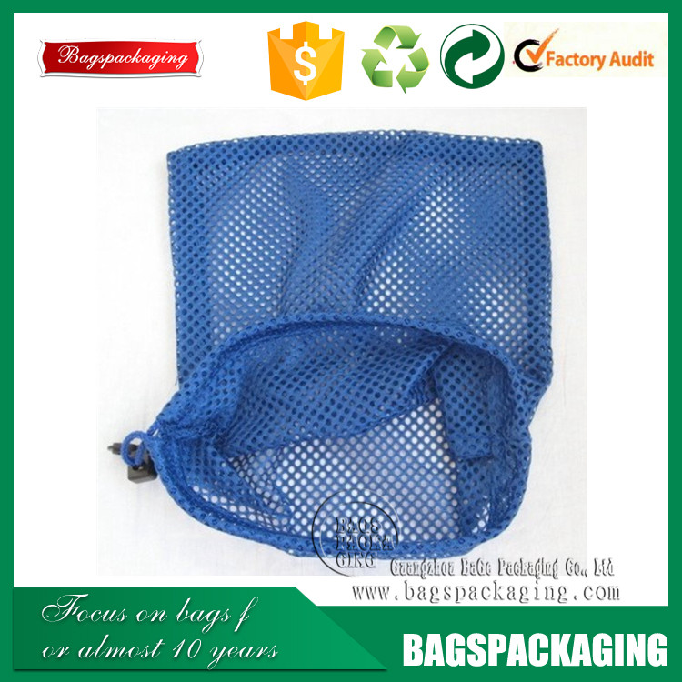drawstring royal blue mesh plastic net bag for shoes