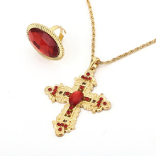 Latest design african Big Custome gold plating cross necklace red crystal diamond rings Jewelry sets