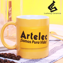 Best quality promotional ceramic coffee mug with handle and silicone lid for wholesale