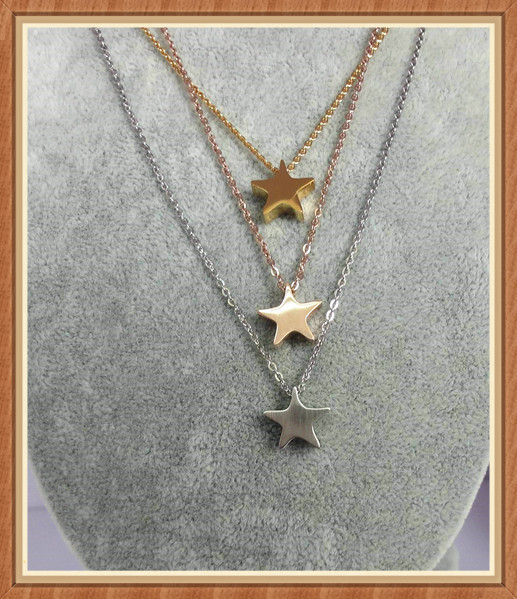 wholesale engravable Delicate Tiny Gold Five-pointed star Necklace with thin chain