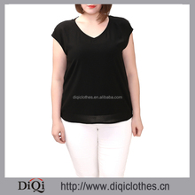 Latest design summer guangzhou clothing factory OEM V Neck Plus size casual blouse for fat woman