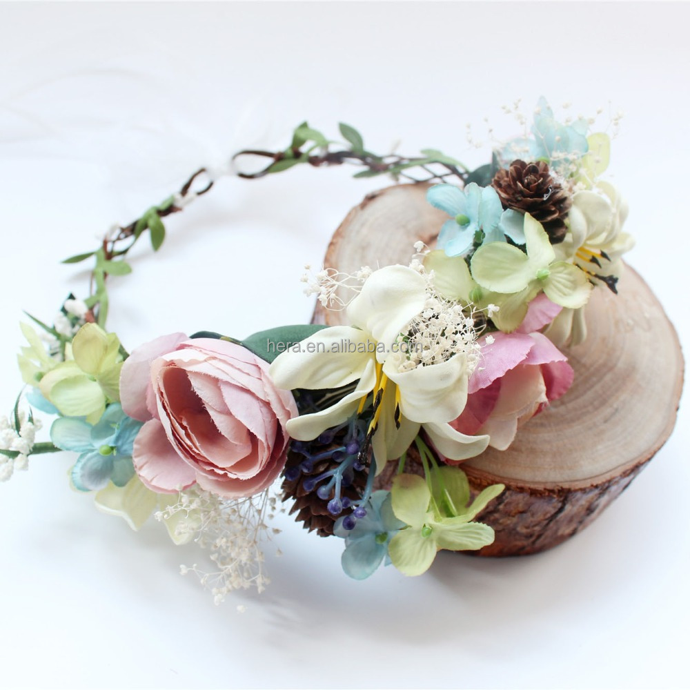 Flower crown boho Floral Bridal Headband Hairband chinese Wedding Hair Accessories