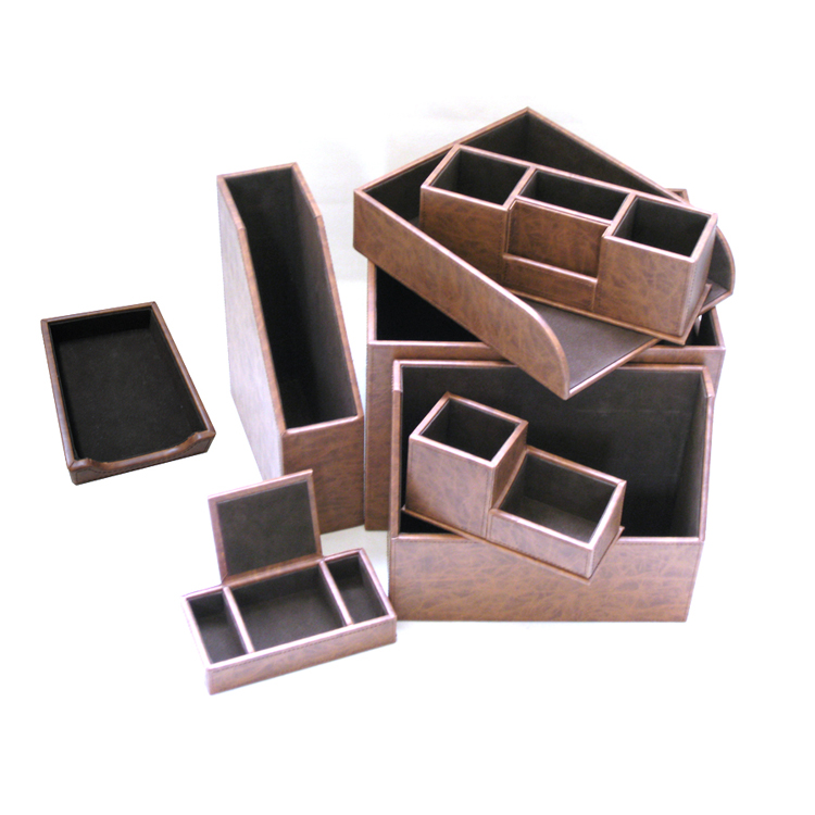 Office accessories leather desktop set desk file organizer - Leather desk organizer set ...