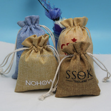 custom printed small jute woven gift sack with drawstring