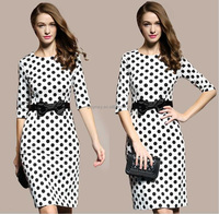 Most popular beautiful korean fashion dress/Polka dot women cotton dress/contrast color fashion dress with satin bowtie