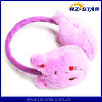 HZE-13064 unique design 100% acrylic pink Wholesale earflap warm ear muffs for girls,fur earmuff,ski ear muffs