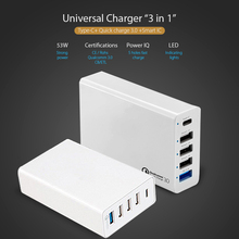 The Newest 5 ports multi function Type C charge Qualcomm certificated quick charger