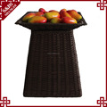 Wholesales handwoven PE plastic rattan supermarket shelf for fruit and vegetables