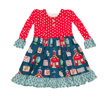Back To School Kids Long Sleeve Dress Western Children Dresses With Flutter Party Dress
