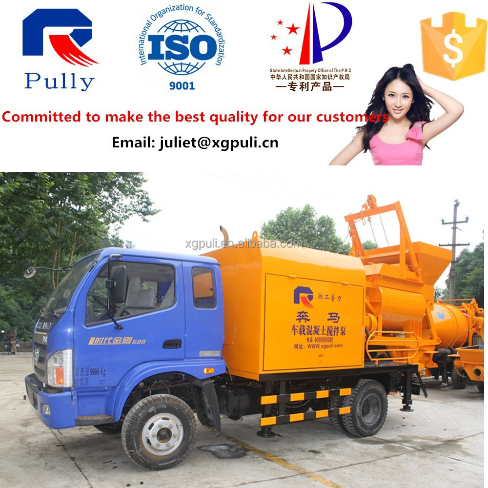 Pully Manufacture truck mounted concrete mixer with pump hot sale in Indonesia