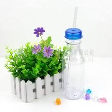 Cola Shape Sport Water Bottle, Plastic Clear Soda Bottles with straw