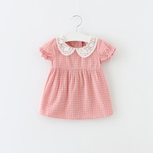 NSD1067 2017 hot sale lovely dress summer wear girls cotton dress materials with check and lace collar