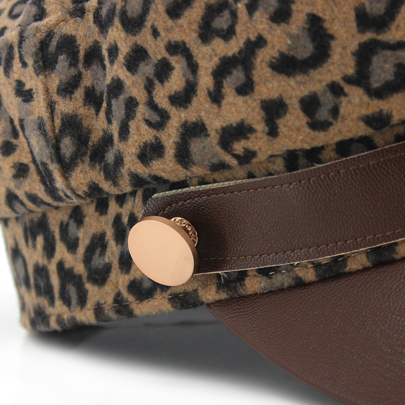 Custom leopard fabric PU leather belt style army military caps hats with self fabric strap hook and loop adjuster for lady woman