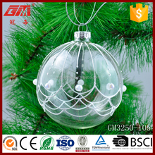 Whloesale hanging clear glass craft ball ornaments