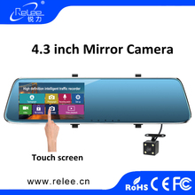 Touch screen dual lens dashboard camcorder mirror rearview dvr full hd 1080p night vision driver car atuo camera