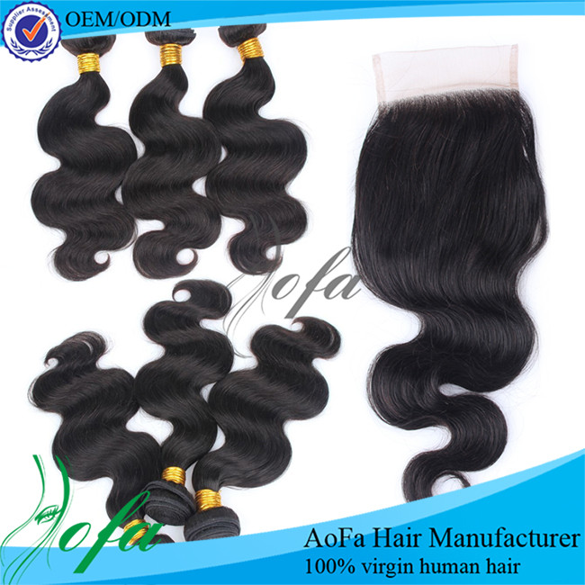 Aofa Factory natural brazilian bundle loose body wave with human hair invisible part closure