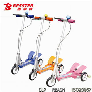 [NEW JS-008H] 2014 hot selling fitness Dual-pedal 3 wheel scooters china kid patents toy three wheel buggy