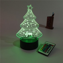 Acryic Visual 3D USB Led night light 7colors changing christmas tree mood lamp