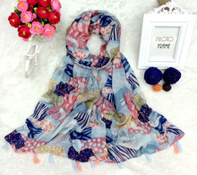 Selling on line free shipping summer chic female French design dress clothing print leopard zebra viscose tassel scarf shawl