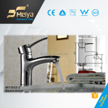 Flexible Chrome Planted Single Handle Brass Wash Basin Faucet, High Utility Deck Mounted Waterfall Tap