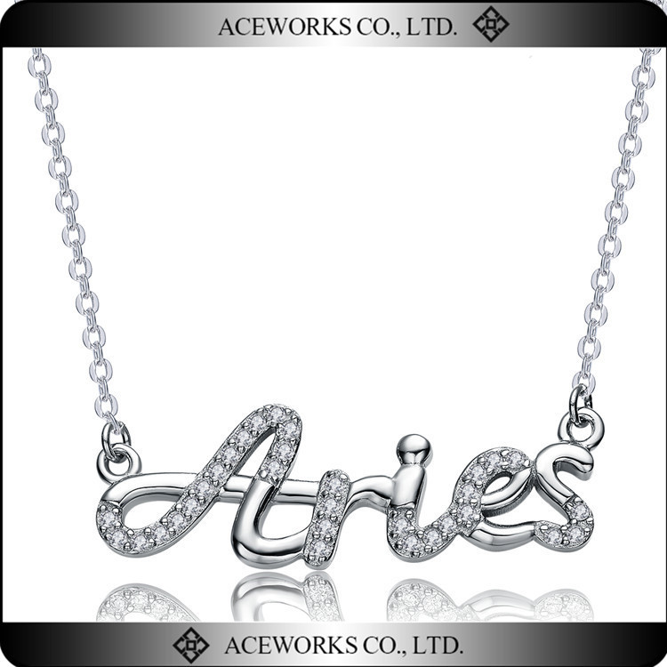 Wholesale Fashion Jewelry 925 Sterling Silver letter Aries necklace in Rhodium Plated Necklace Designs