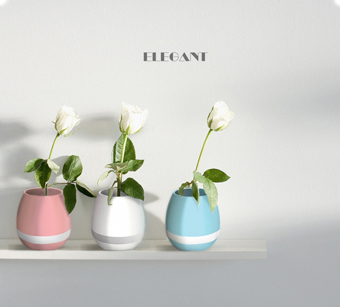 2017 Novo smart levou vaso de flores de luz bluetooth speaker música, planta lâmpada toque com led speaker bluetooth lâmpada