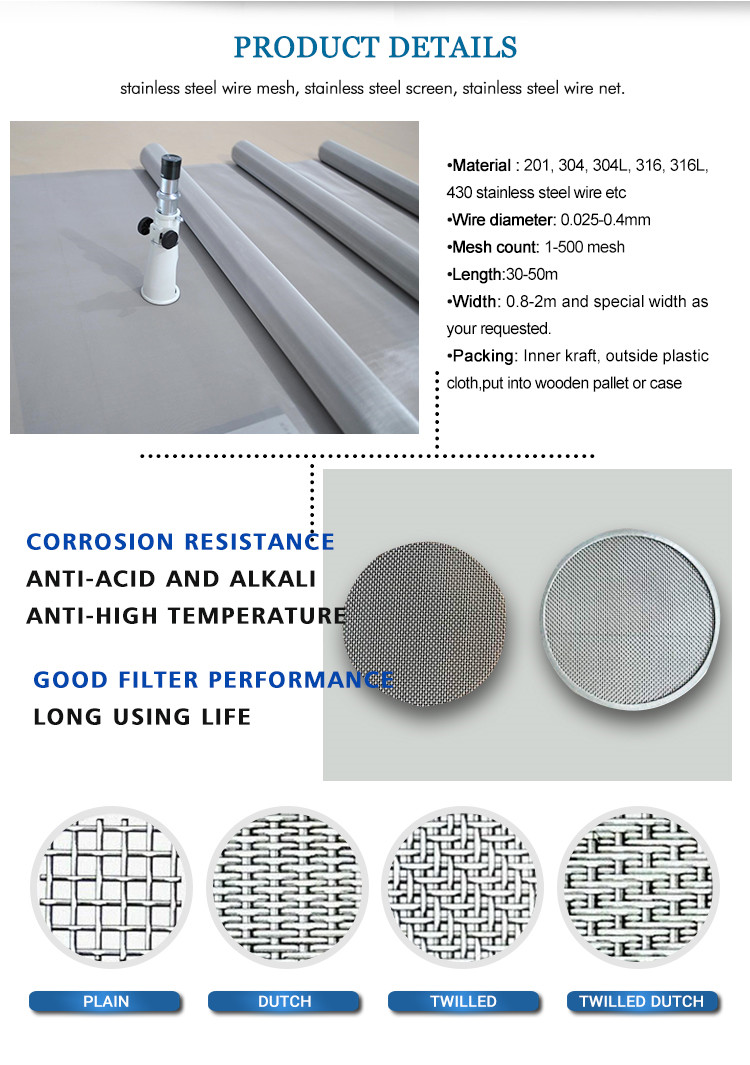450mesh 28 micron Fine strong tension 316L stainless steel wire mesh