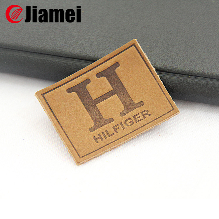 Nanjing jiamei made clothing embossed leather patch custom leather patch