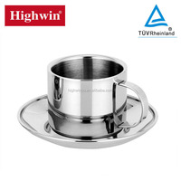 Highwin top grade stainless steel coffee cup & tea cup & metal mug with saucer/ plate