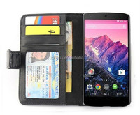 3 ID Card Slots PU Leather Wallet Stand Case for LG Google Nexus 5 Flip Cover