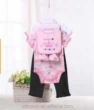 sweat cotton set for girl, 2pcs of romper+1pcs of bid+1pcs of pant+1pair of foot finder,rfive-piece suit,