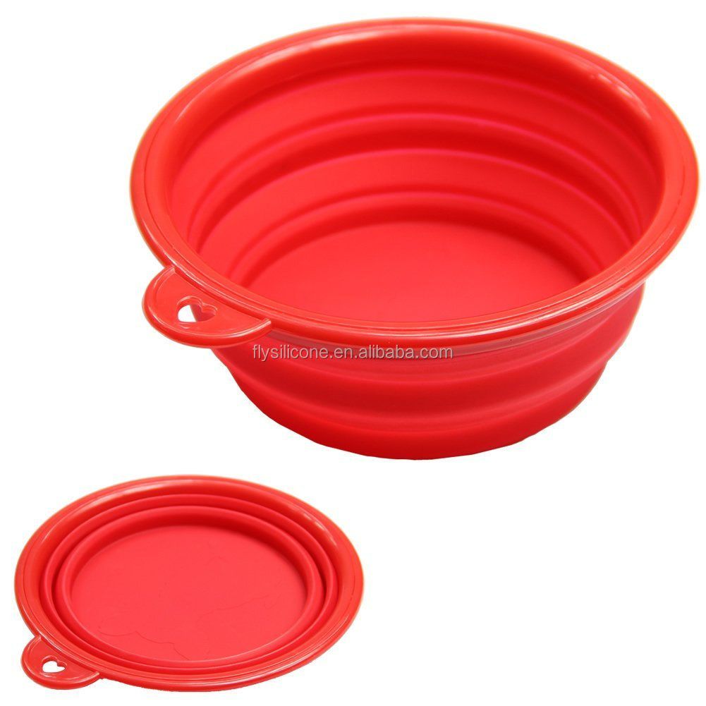 red color silicone folding dog food feeder/bowl as seen on tv