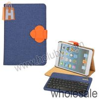 High quality Linen Material Texture Design Detachable Bluetooth Keyboard Stand Leather Case for iPad Mini 1 2 Retina
