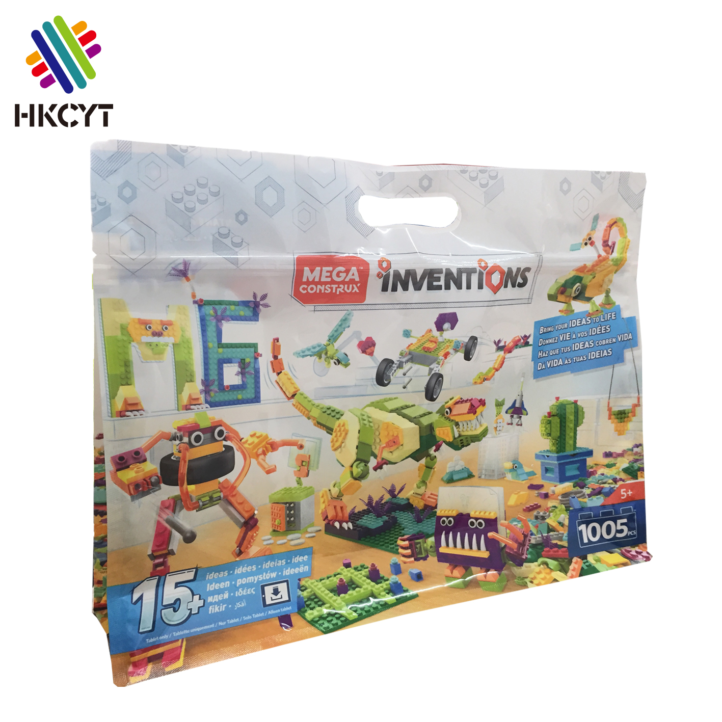 Custom printed plastic flat bottom mylar square bottom pouch with zipper flat bottom plastic bags for toy bricks