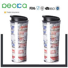 Wholesale 350ml Double Wall Insulated Plastic Coffee Cup With Splash Proof Lid