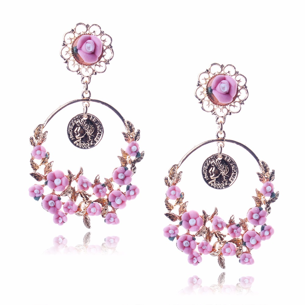 E0140 Dvacaman 2017 statement fashion acrylic garden style peach blossom baroque flower chandelier earrings