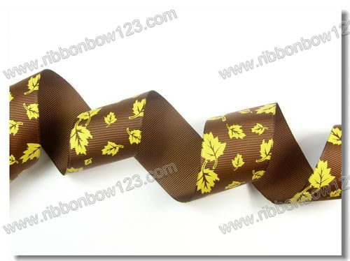 single face maple leaves print grosgrain ribbon