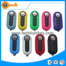 3 button colorful flip remote key shell for Fiat 500