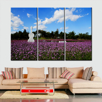 Interior Wall Painting Pictures 3 Panel Flower Field Scenery HD Canvas Prints Modern Landscape Oil Painting