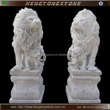 Large Outdoor White Marble Lion Statues with Babies