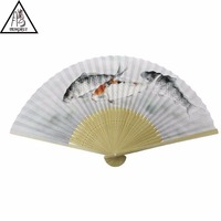 personalized custom printed wooden folding hand fan