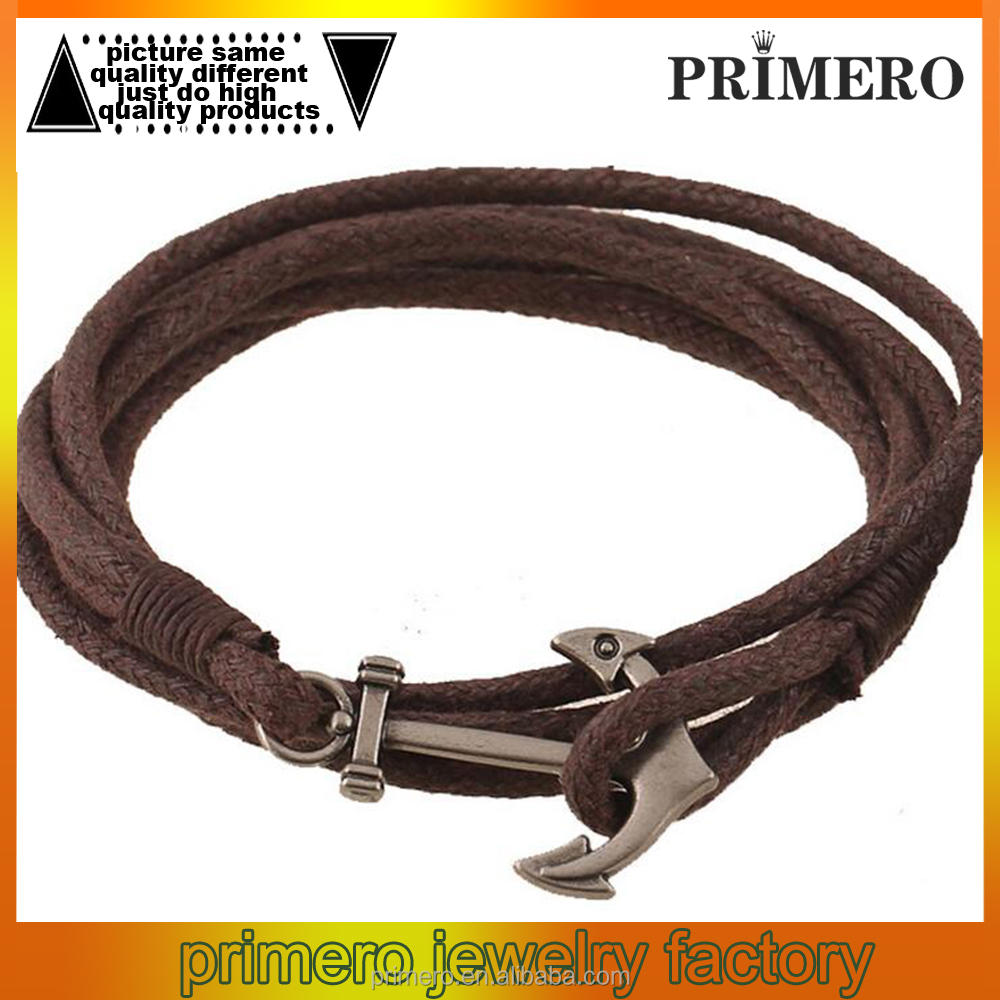 Fashion Jewelry Hot Sale Wax Rope Multilayer Leather Men Anchor Bracelets For Women Best Friend Gift