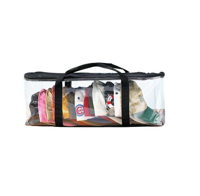 Black polyester clear PVC CAP storage bag with short handle