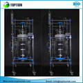 Laboratory 100l Cylindrical Jacketed Double Layer Glass Reactor